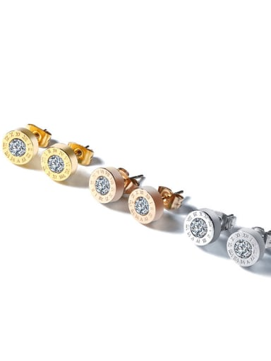 Stainless steel Rhinestone Round Minimalist Stud Earring