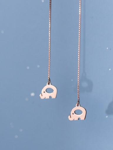 925 Sterling Silver Elephant Minimalist Threader Earring