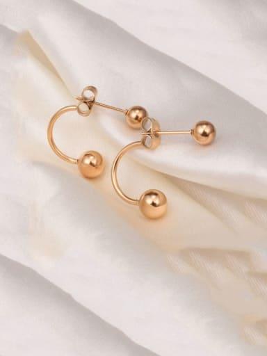gold Titanium  Smooth Round Bead  Minimalist Stud Earring