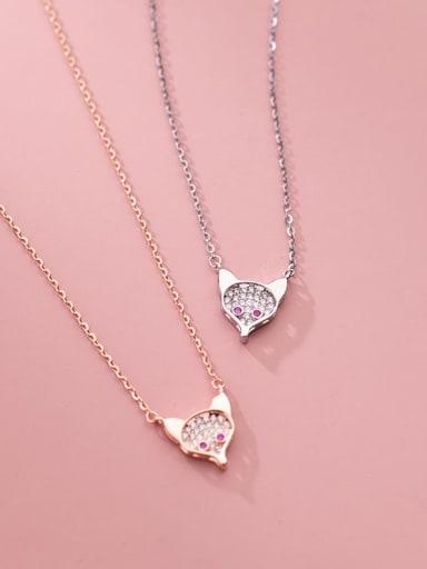 925 Sterling Silver Cubic Zirconia Fox Cute Necklace
