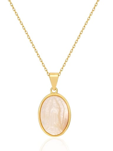 925 Sterling Silver Shell Oval Minimalist Necklace