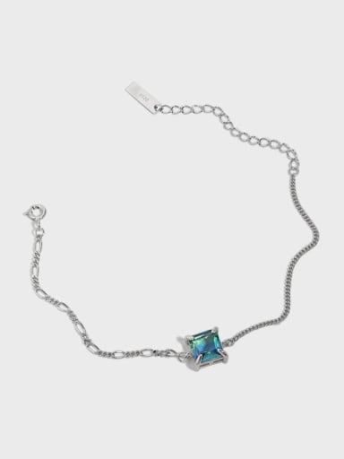 925 Sterling Silver Glass Stone Geometric Vintage Link Bracelet