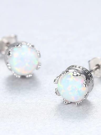 White 18f01 925 Sterling Silver Opal Blue Round Minimalist Stud Earring