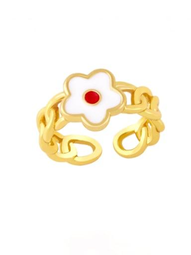 white Brass Enamel Flower Minimalist Band Ring