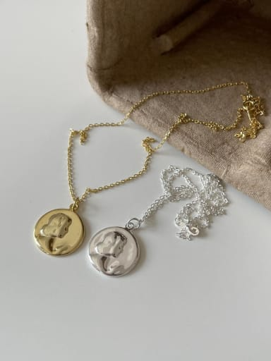 925 Sterling Silver Geometric Portrait  Minimalist Necklace