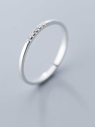925 Sterling Silver Rhinestone  Round Minimalist Band Ring