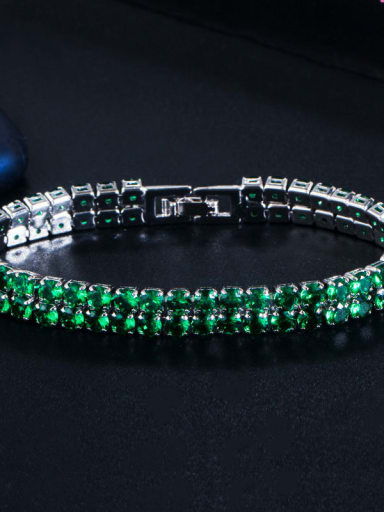Platinum green Copper Cubic Zirconia Geometric Dainty Bracelet