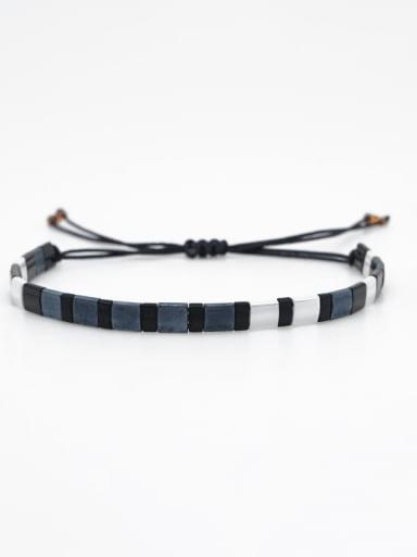 TL B190252A Stainless steel Tila Bead White Geometric Bohemia Handmade Weave Bracelet