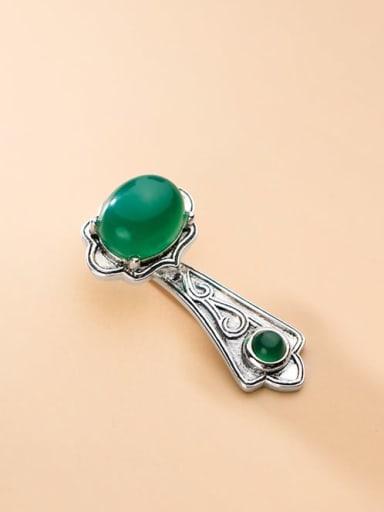 925 Sterling Silver Emerald Vintage Ruyi shape single   Pendant