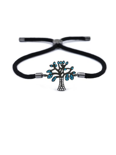 Black rope black Brass Cubic Zirconia Tree Minimalist Adjustable Bracelet