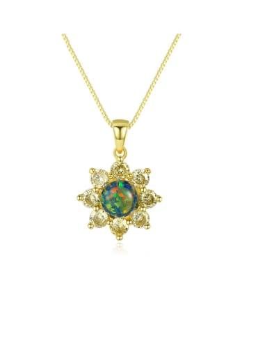 925 Sterling Silver Simple Opal Inlaid Zircon Sun Flower  Necklace