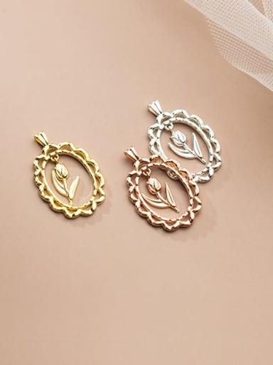 925 Sterling Silver Minimalist Flower  Pendant