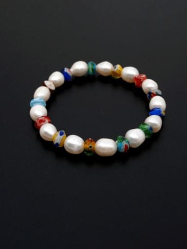 Freshwater Pearl Multi Color Ceramic Minimalist Stretch Bracelet