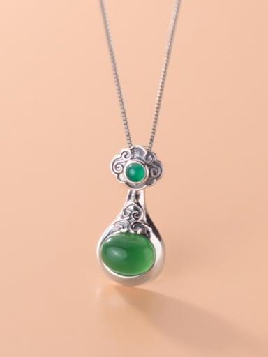 925 Sterling Silver  Retro moiré Ruyi style Synthetic Emerald Single Pendant