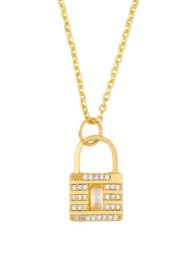 Square key Alloy Cubic Zirconia Key Vintage Necklace