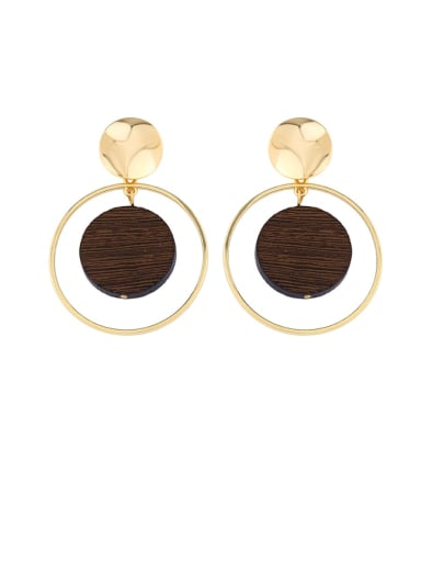 Alloy Wood Geometric Bohemia Drop Earring
