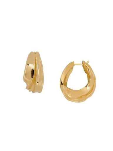 Copper Geometric Hip Hop Huggie Earring