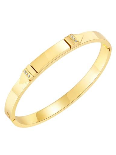 995 gold plated bracelet Titanium Steel Rhinestone Geometric Minimalist Band Bangle