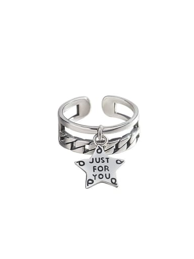 925 Sterling Silver Letter Star Vintage Stackable Ring