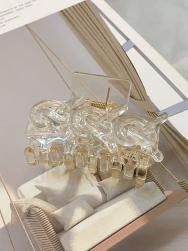 Transparent 6.7cm Acrylic Minimalist Geometric Alloy Jaw Hair Claw