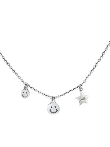 925 Sterling Silver Cubic Zirconia Star Hip Hop Smiley  Pendant Necklace