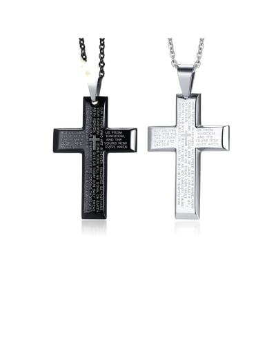 Stainless Steel Letter Cross Minimalist Regligious Necklace