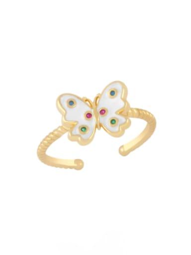 white Brass Enamel Butterfly Minimalist Band Ring