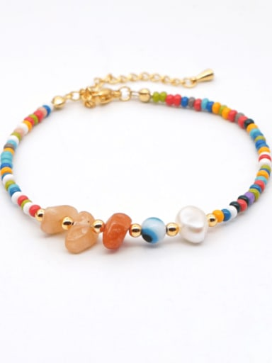ZZ A200005A Stainless steel  Irregular Bohemia  Bead Multi Color Anklet