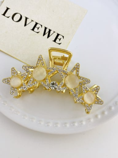 Four star opal 7.5cm Alloy Imitation Pearl  Trend  Five-pointed star Jaw Hair Claw