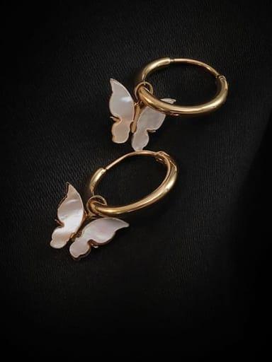 Titanium Steel Shell Butterfly Minimalist Huggie Earring