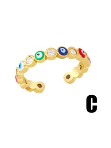 C (color) Brass Enamel Heart Minimalist Band Ring