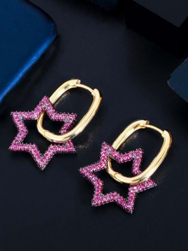 Hexagonal star Brass Cubic Zirconia Geometric Luxury Stud Earring