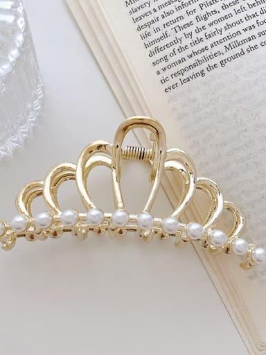Crown Pearl 9.3cm Alloy Imitation Pearl Minimalist Crown Jaw Hair Claw