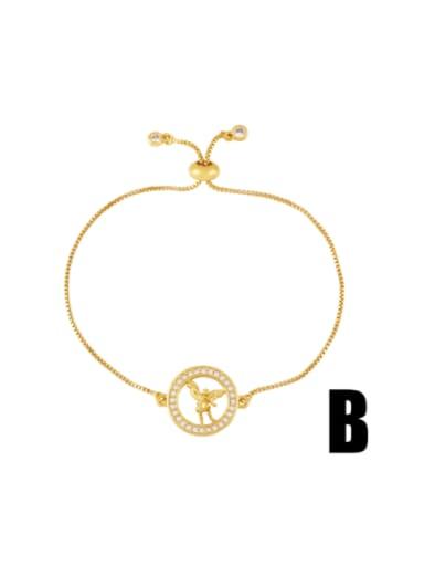 B Brass Cubic Zirconia Religious Vintage Link Bracelet