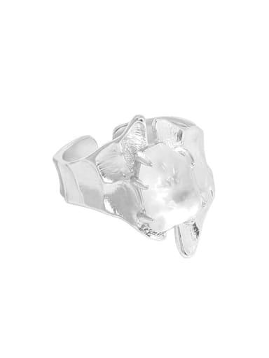 Silver [size 15 adjustable] 925 Sterling Silver Crystal Irregular Vintage Band Ring