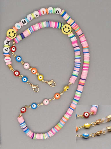 RT N200007A Stainless steel Bead Multi Color Polymer Clay Letter Bohemia Hand-woven Necklace