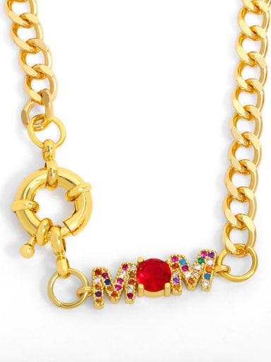 Brass Cubic Zirconia  Hip Hop Letter Pendant Necklace