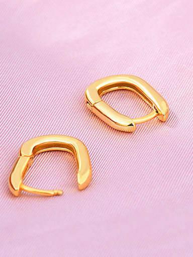 18K 925 Sterling Silver Geometric Minimalist Huggie Earring