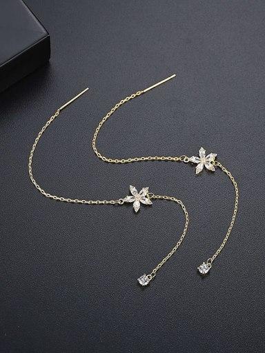 Gold t06a10 Copper Cubic Zirconia Tassel Bohemia Threader Earring