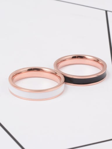Titanium Enamel White Round Minimalist Band Ring