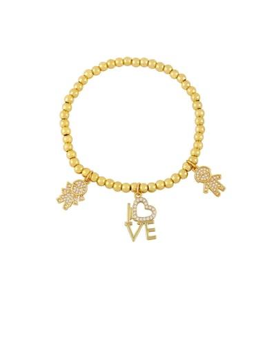 C Brass Cubic Zirconia Star Vintage Beaded Bracelet