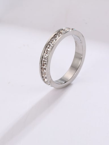 Steel color (single layer) Titanium Steel Rhinestone Round Minimalist Stackable Ring