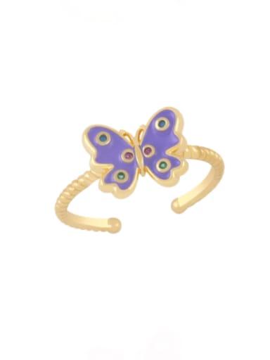 purple Brass Enamel Butterfly Minimalist Band Ring