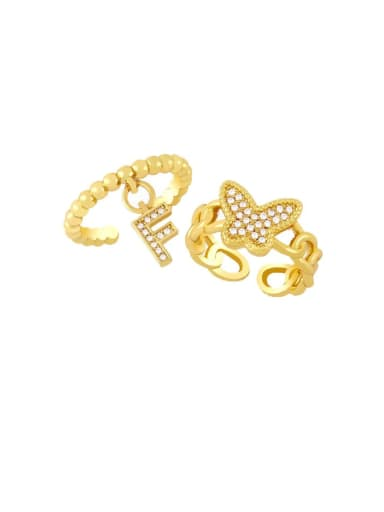 Brass Cubic Zirconia Letter Trend Band Ring