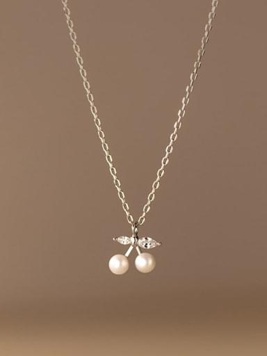 925 Sterling Silver Imitation Pearl Friut Minimalist Necklace