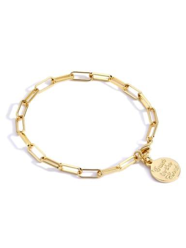 Gold Bracelet Brass Geometric Vintage Link Bracelet