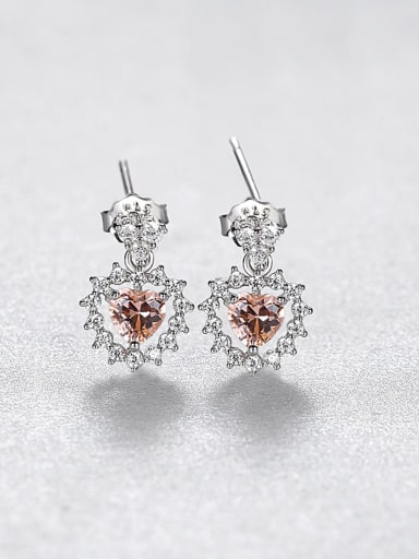 925 Sterling Silver Cubic Zirconia Heart Luxury Drop Earring