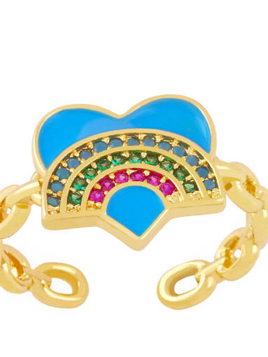 blue Brass Enamel Rainbow Vintage Band Ring