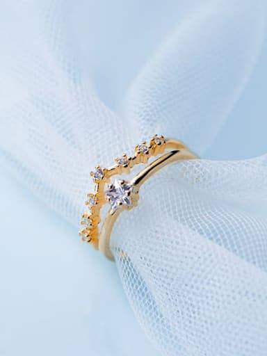 925 Sterling Silver  Minimalist Diamond Double Pentagram Free Size Ring