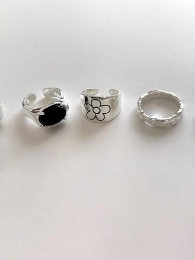 925 Sterling Silver Carnelian Flower Vintage Band Ring